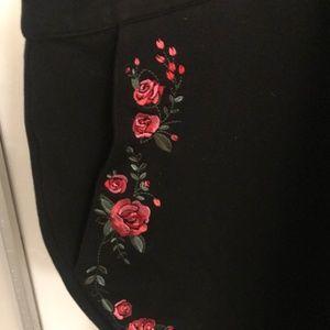 ModCloth Black Ponte Pants with Floral Detail (4X)